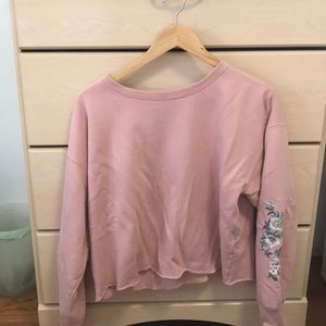 A&F pink sweatshirt with floral embroidered arms